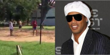 Watch footage of Ronaldinho playing foot volleyball with prison inmates while awaiting trial (video)