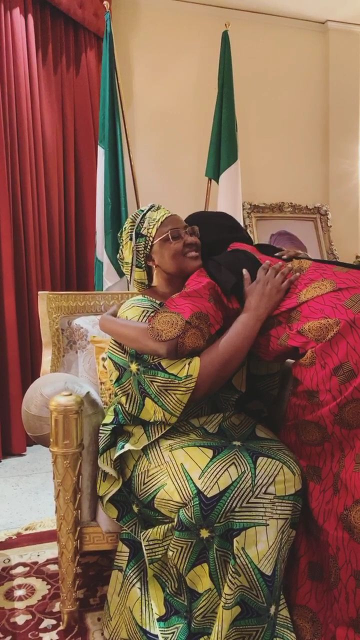 Aisha Buhari gets emotional as she reunites with her daughter after 14 days in isolation