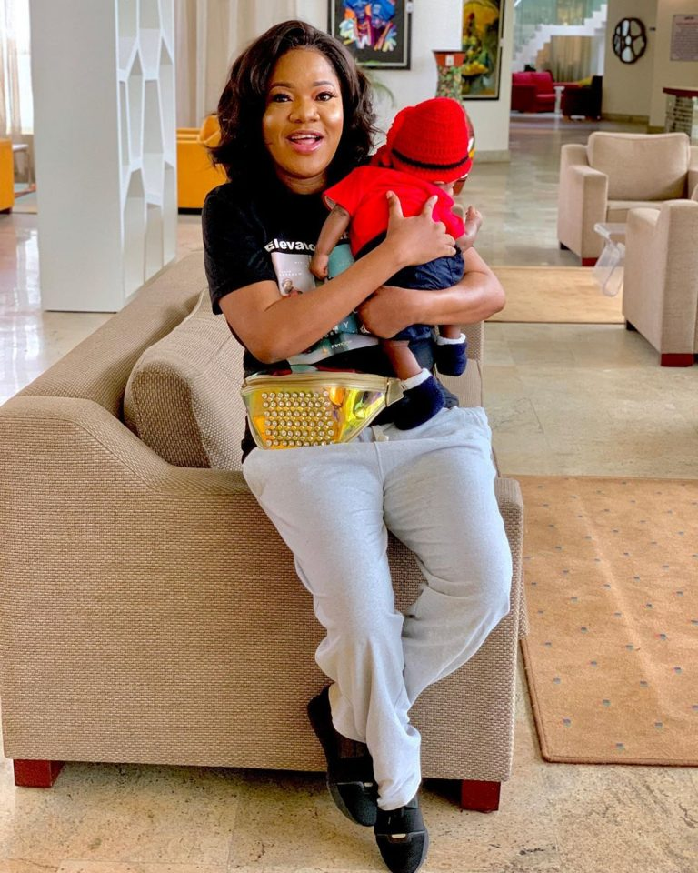 Lil Champ! Cute photos of Toyin Abraham's son,Ire lifting weight with his dad during a workout session