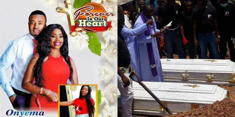 Couple killed in Abule Ado explosion laid to rest amidst tears and sorrow (Photos_Video)