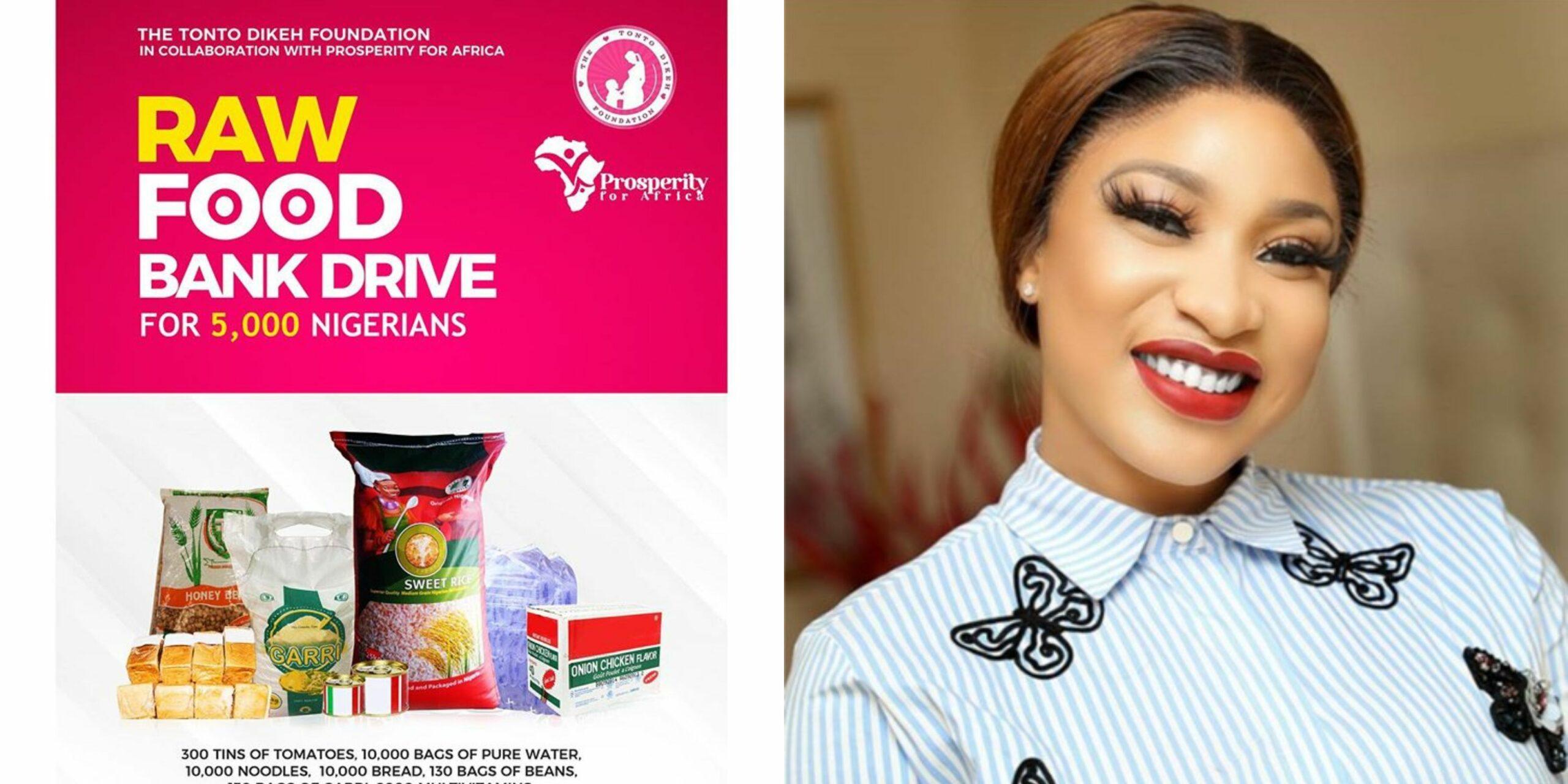 Tonto Dikeh set to donate foodstuffs & drinks to 5,000 Nigerian households (Photos)