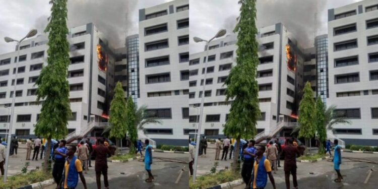 BREAKING: Accountant General Of Federation's Office In Abuja On Fire