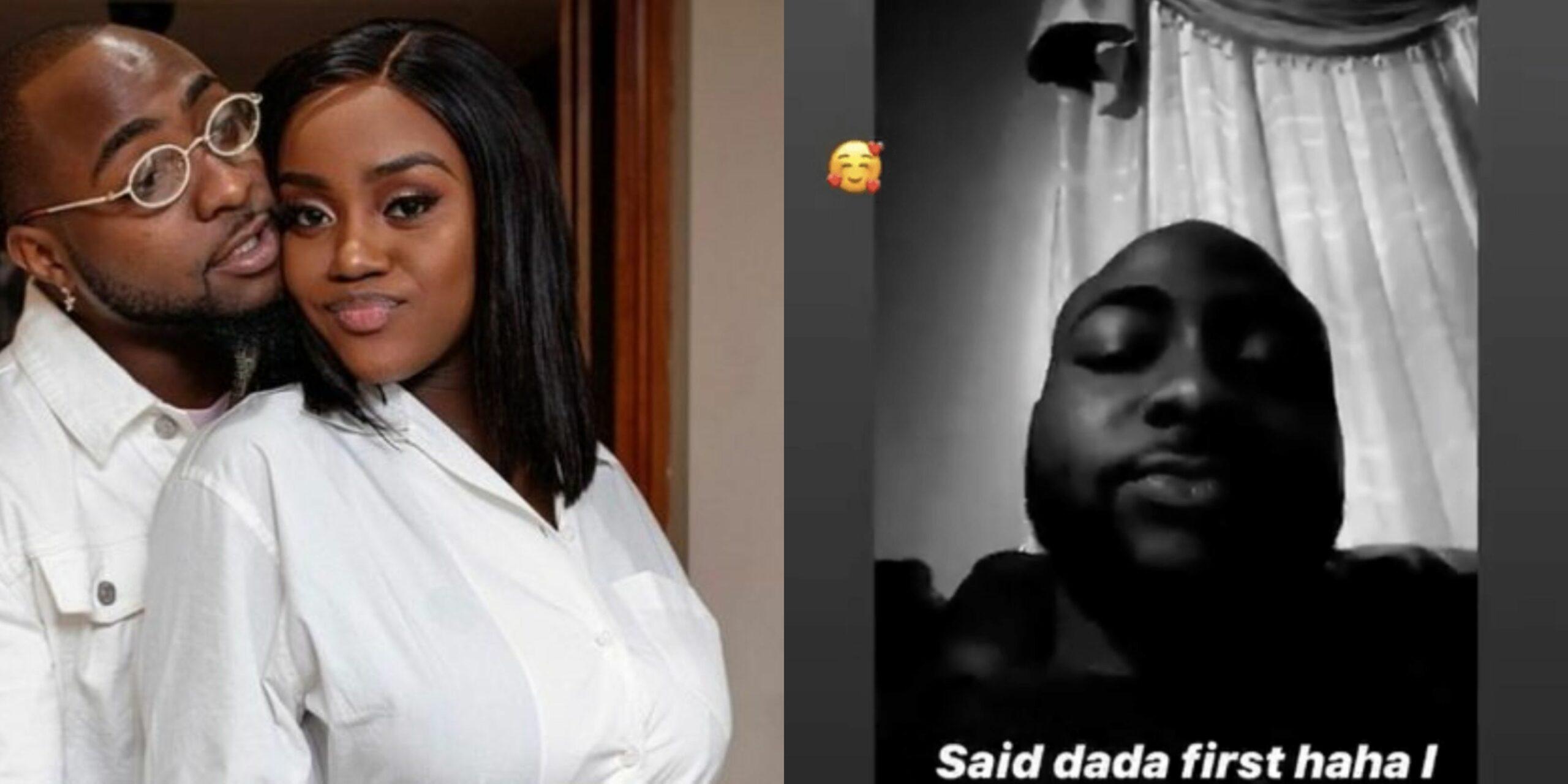 Chioma reacts as Davido reveals their son finally said 'Dada' (Video)