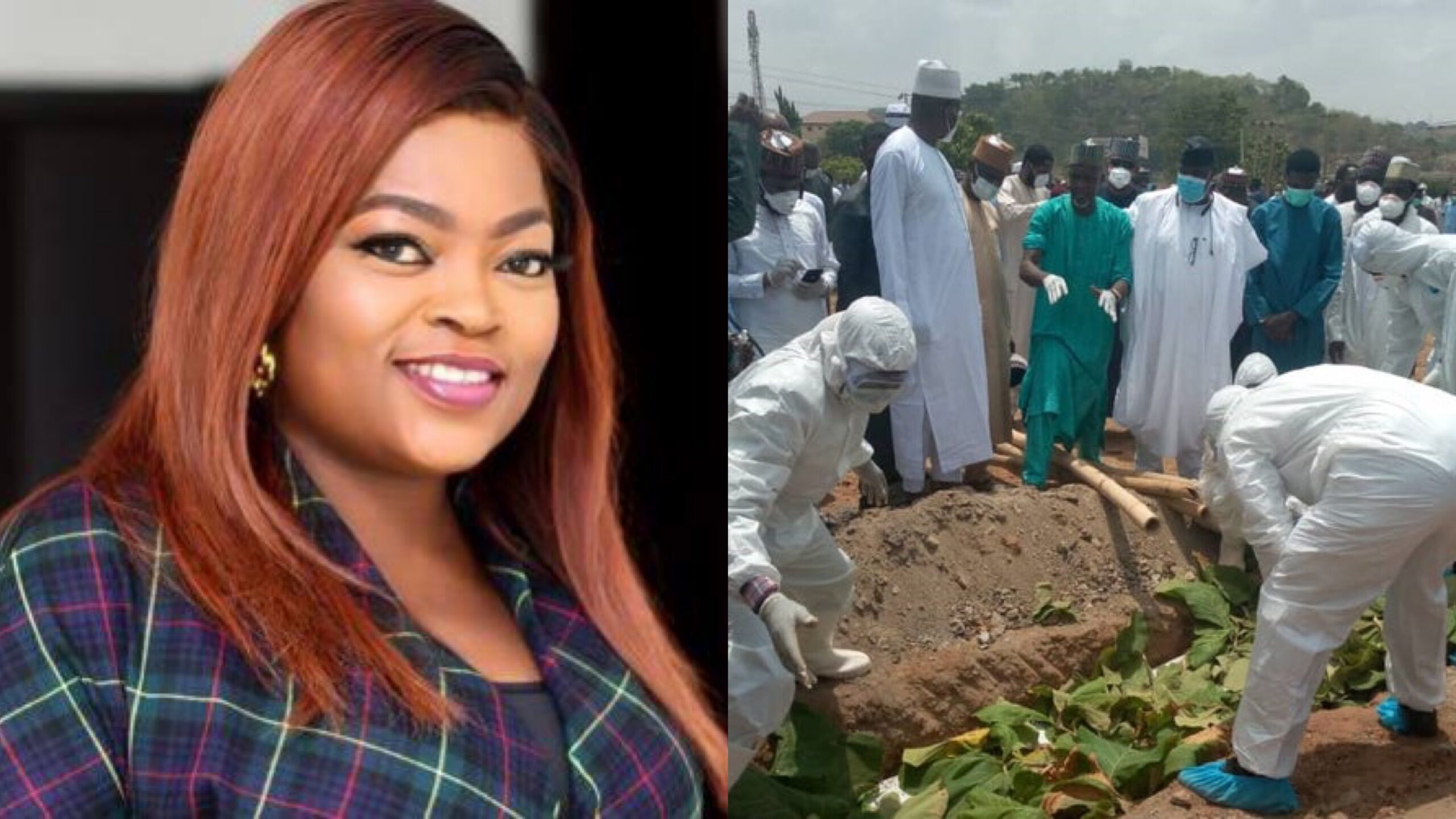 Cancel Funke Akindele's community service and fine now - Nigerians demand after crowd gather for Abba Kyari's burial