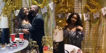 Chioma gets customized 24k karat gold bottle of wine as birthday gift -Lovely photos from the 'lavish 'Gold Theme' 25th birthday party