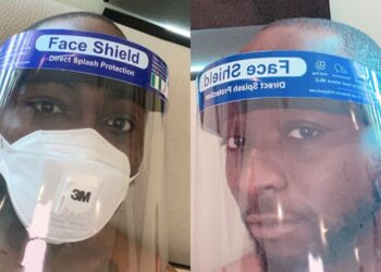Davido beefs up for the eased lockdown in Lagos with face shield and N95 nose masks (Photos)