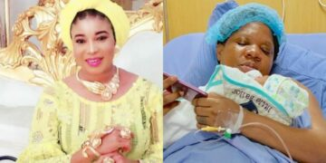 Lizzy Anjorin insists Toyin Abraham delivered her baby in a traditional maternity centre despite the actress showed her childbirth video