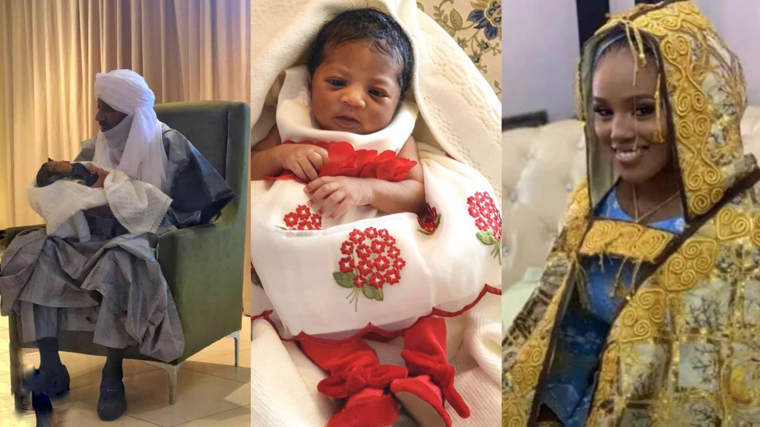 Photos of deposed Emir of Kano, Sanusi Lamido Sanusi with his daughter he recently welcomed with 4th wife