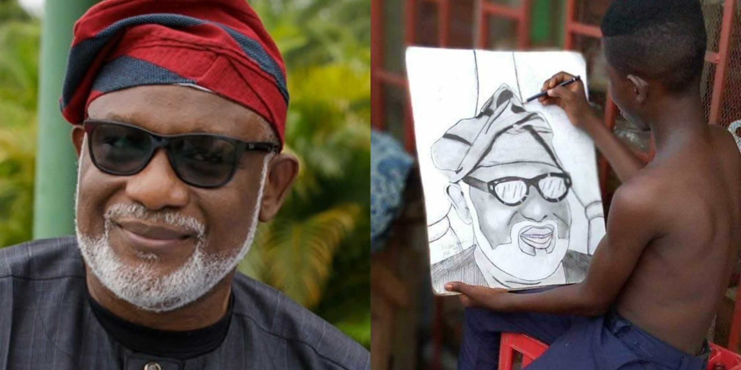 Ondo Gov., Akeredolu offers to buy a portrait painting of himself from a Young boy on social media