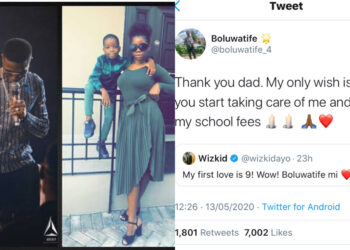 Pay my school fees and stop celebrating me on social media - Wizkid's 'Son' attacks him on Twitter