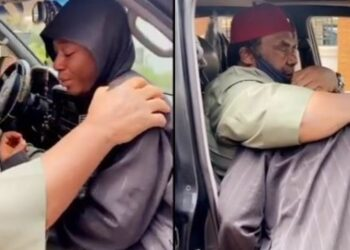 Destiny Etiko weeps uncontrollably as Pete Edochie pays her condolence visit over the death of her father (Video)