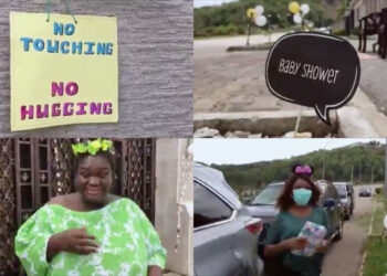 Social distancing: Heavily pregnant Nigerian woman gets surprise and thoughtful baby shower party from her friends (Video)