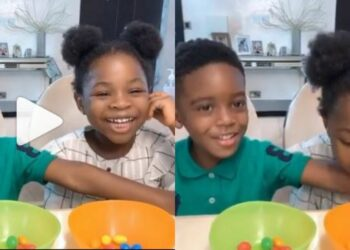 Tiwa Savage tests the patience of her son Jamil and his bestie, Imade in viral snack challenge for k