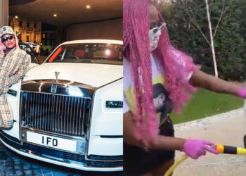 Billionaire daughter, DJ Cuppy leaps for joy as she finally learns how to wash a car (Video)