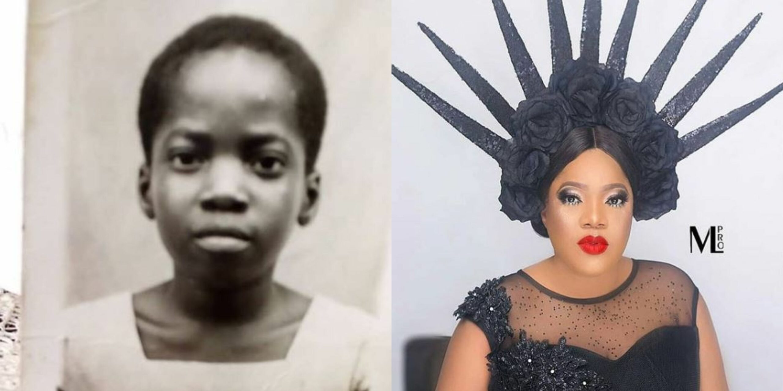Toyin Abraham shares epic throwback photos of her childhood, Nigerians react