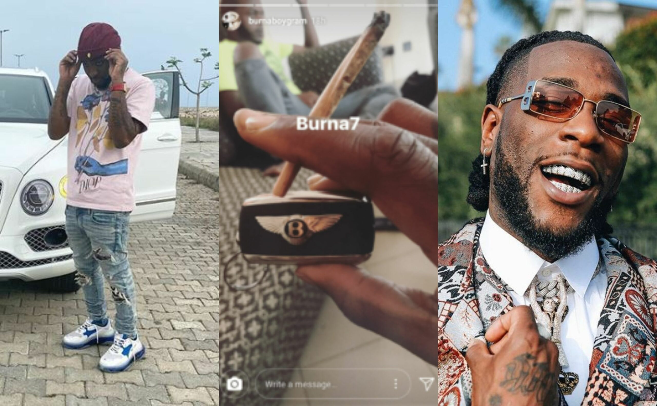Beef Alert: Davido posts picture of his Bentley, Burna posted his and Jewelries minutes after with a f*uck you smiley