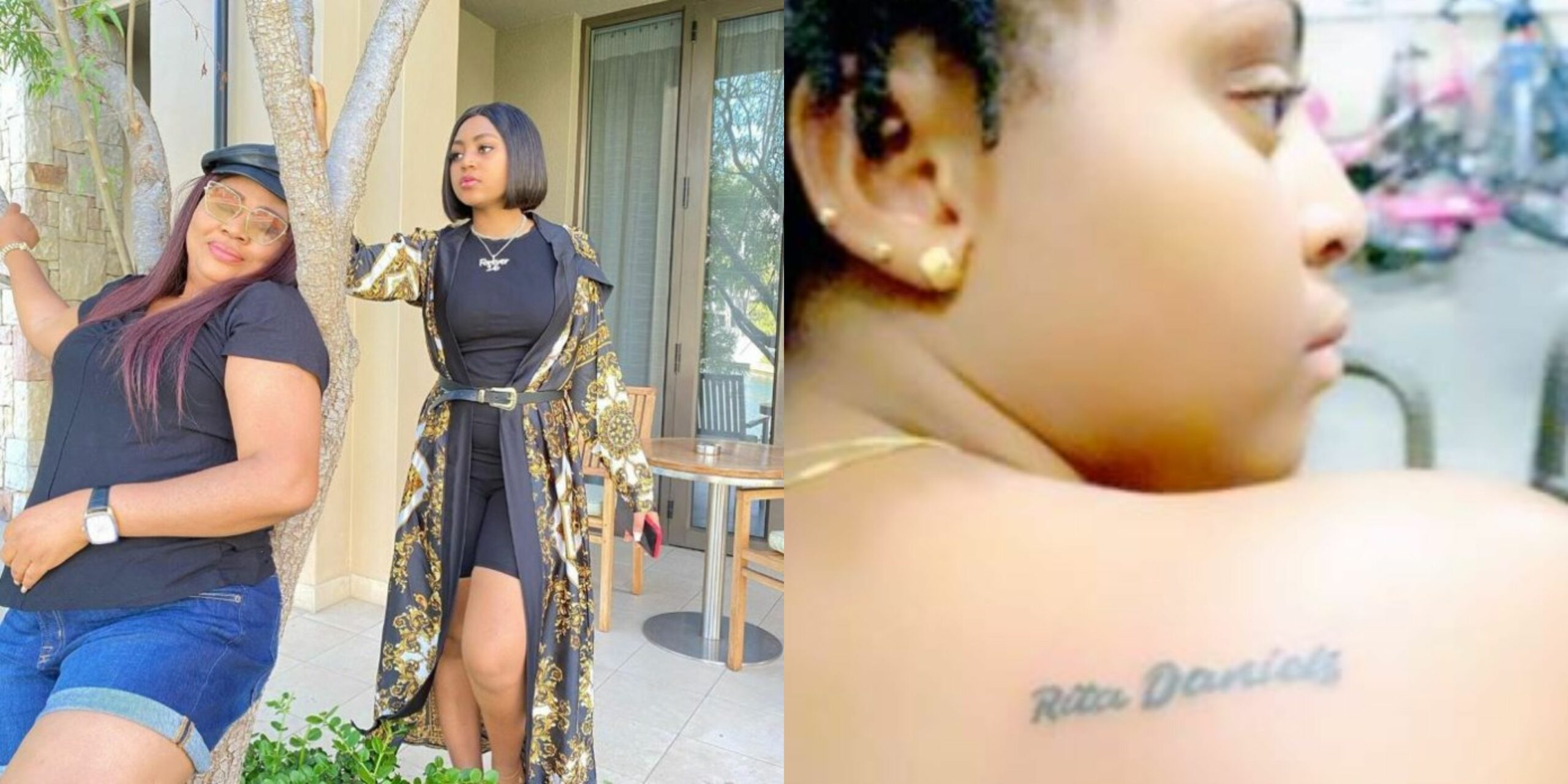 Regina Daniels gets a new tattoo of her mother's name, Rita Daniels (Photo)  | Theinfong
