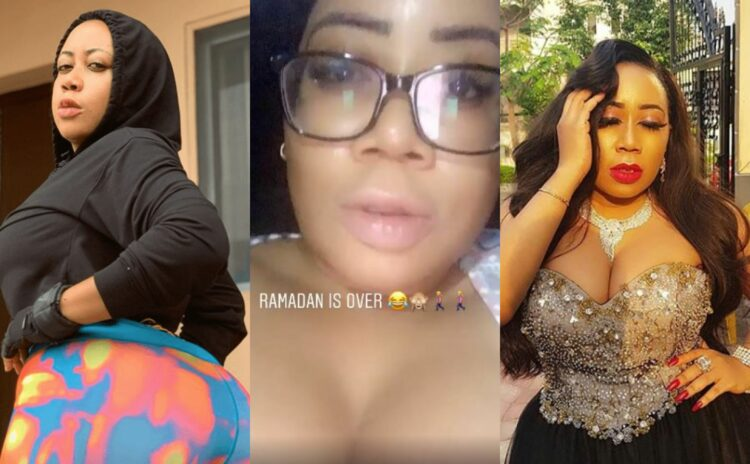 Ramadan is over -Moyo Lawal says as she resumes her cleavage bearing spree (Video)