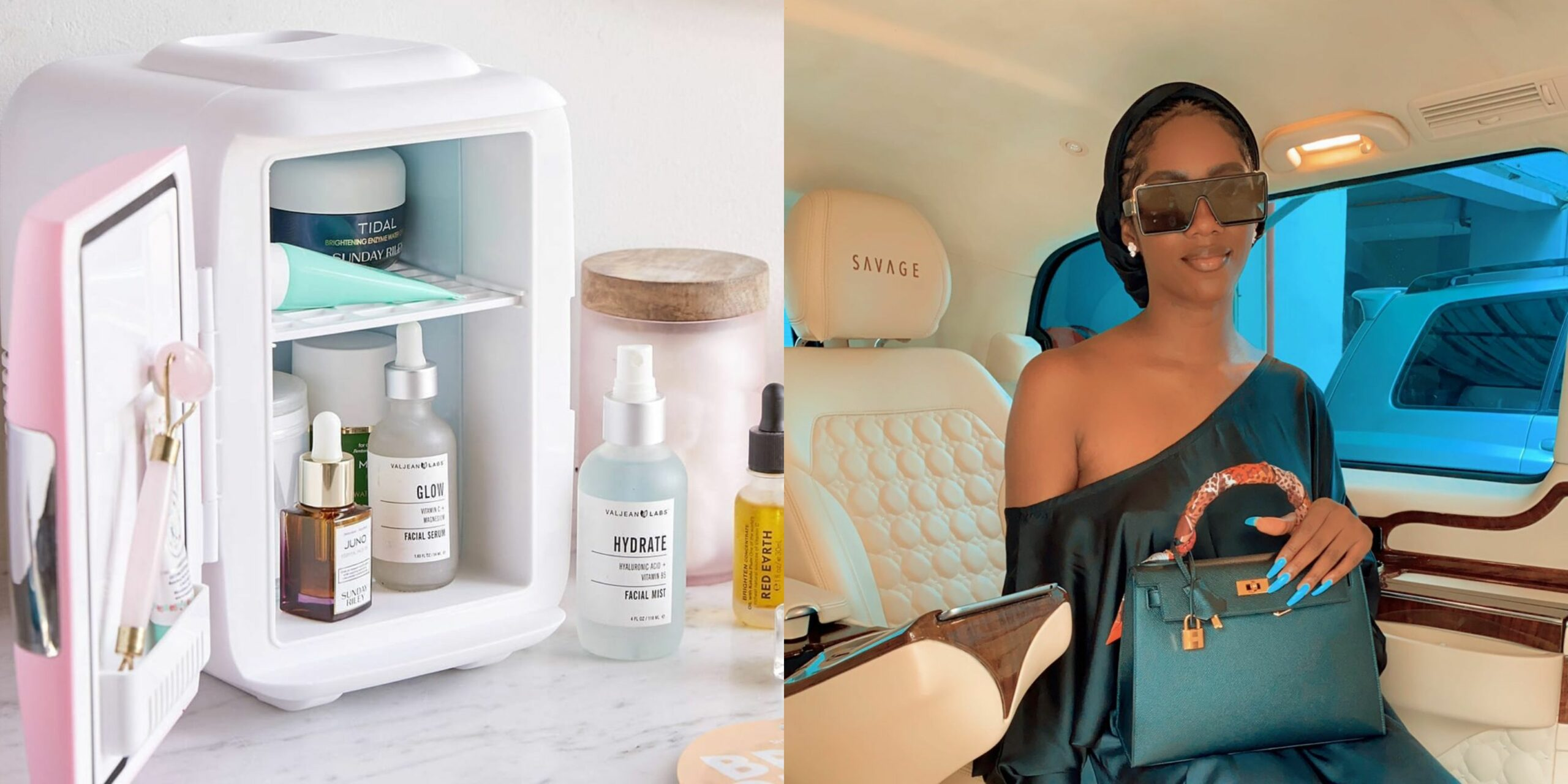 Check out the 'Beauty fridge' where Tiwa Savage keeps all her skin care products (Photos)