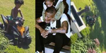 Beautiful video of Wizkid's 3rd son, Zion driving his bike in his father's spacious mansion (Photos)