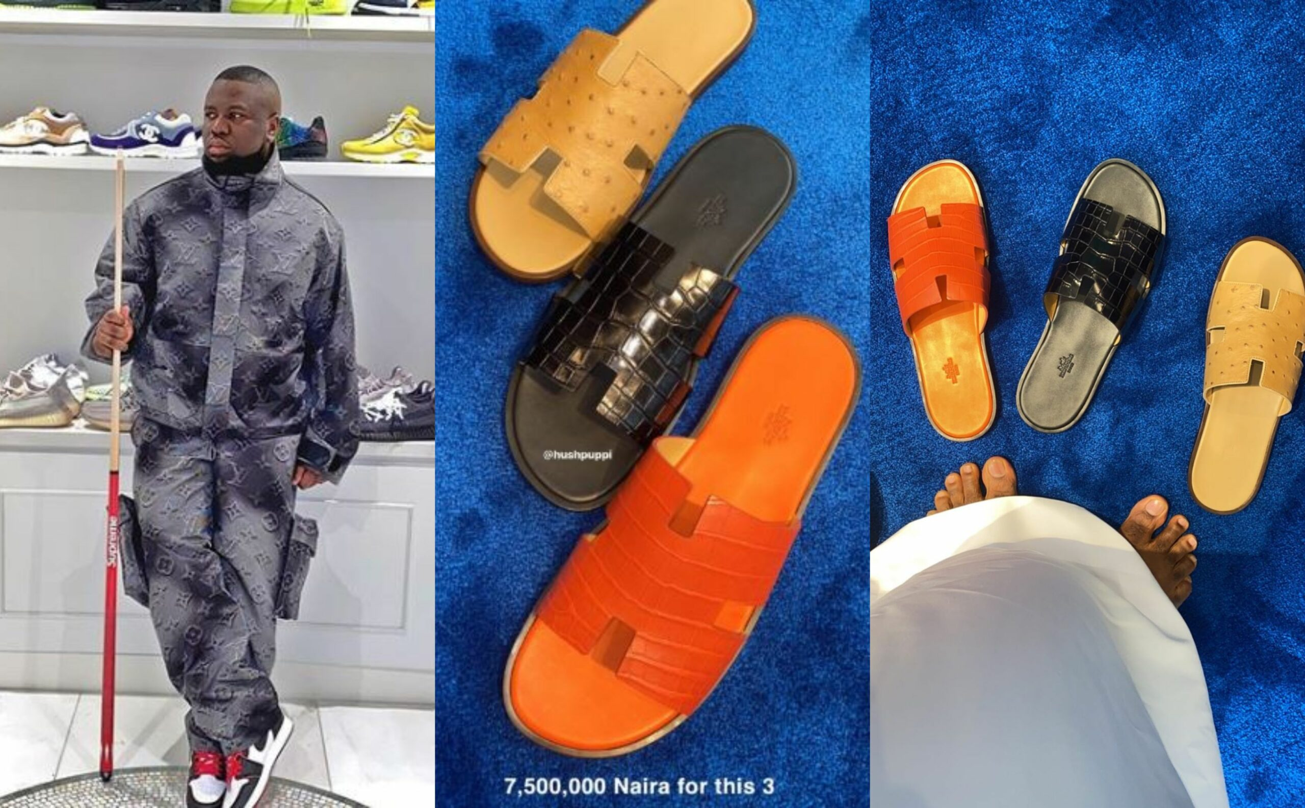 Hushpuppi flaunts the slippers he bought for N7.5million (Photos)