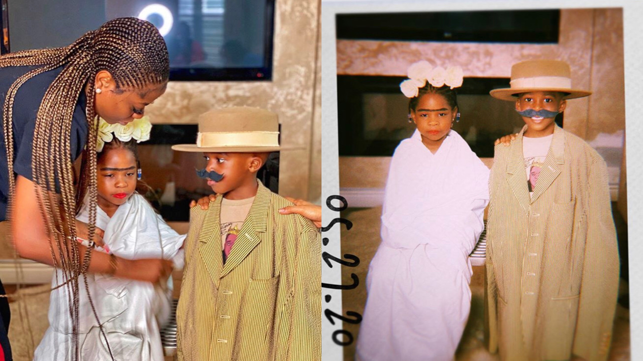 Children's Day: Imade Adeleke and bestie, Jamil Balogun celebrate indoors with lovely costumes (Photos)