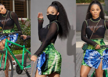 Baby girl for life -Toke Makinwa says as she stuns in lovely 'Adire' print and see-through top (Photos)