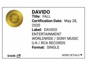 Davido fall goes gold