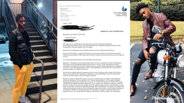 Nigerian boy, Kenechukwu Onyia expelled from Georgia State University for sexual misconduct on Campus (Photos)