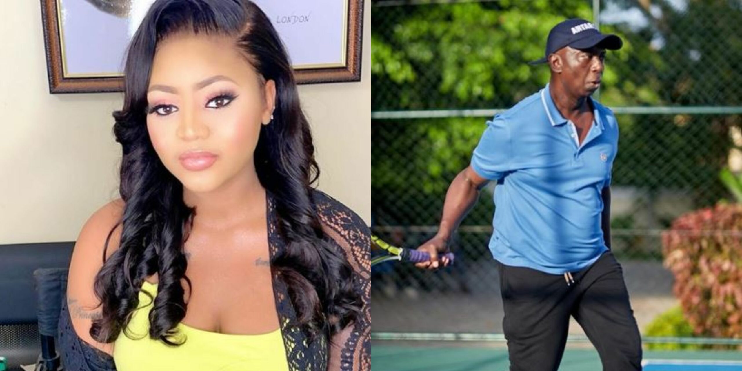 Check out Regina Daniels' priceless reaction after Ned Nwoko stepped onto the tennis court yesterday