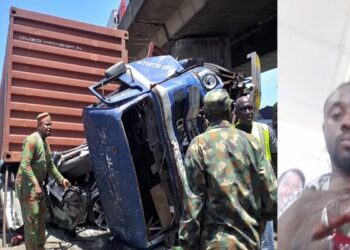 Man narrowly escapes death on second wedding anniversary after a trailer fell on his car (Photos)