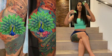 After 10years I gave my peacock tattoo a makeover -Cardi B shows off her newly redone thigh tatts (Photos)