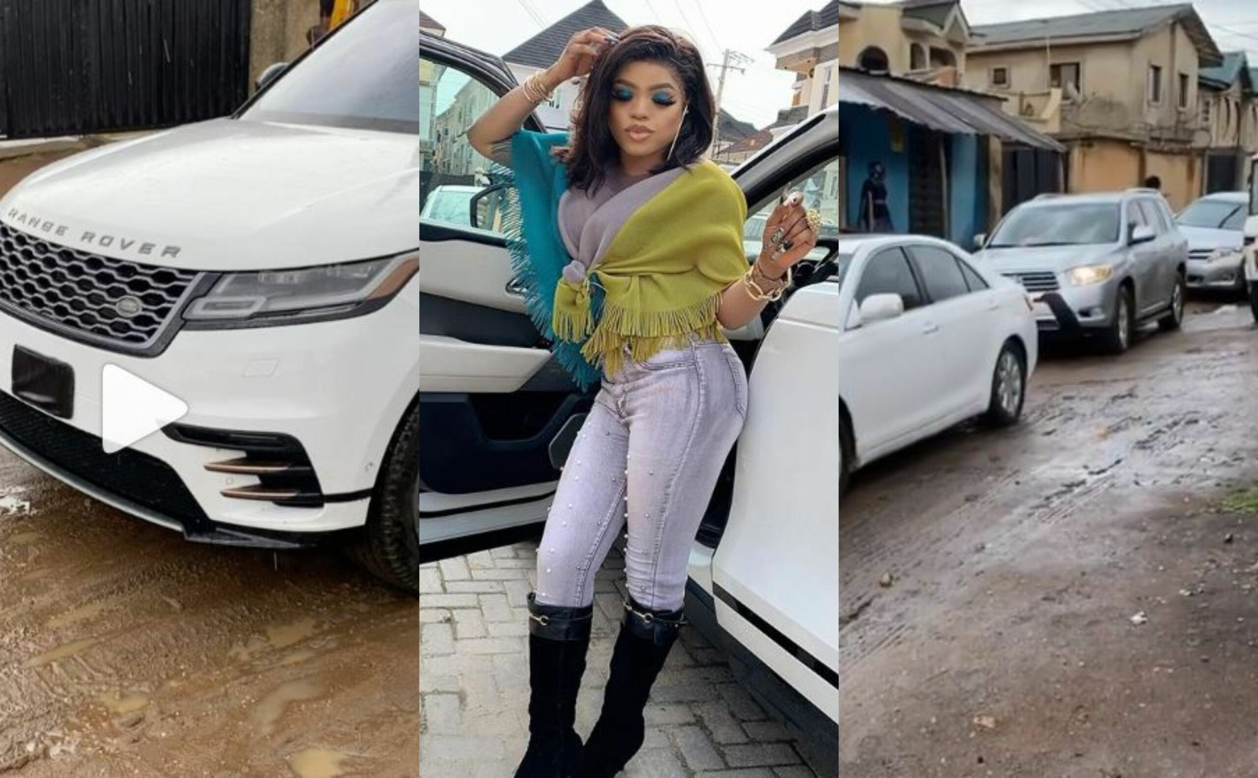 Shutting down everywhere -Bobrisky leads a procession of expensive cars to her father's house on his birthday (Video)