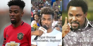 My leg is healed, I can now play football -Manchester United star, Angel Gomes visits Pastor TB Joshua's church for deliverance (Video)