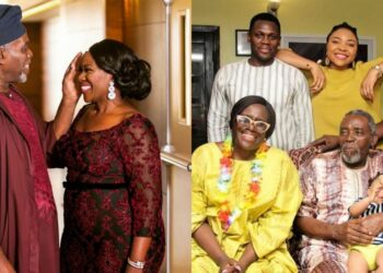 Joke Silva celebrates husband, Olu Jacobs on Fathers' Day (Photo)