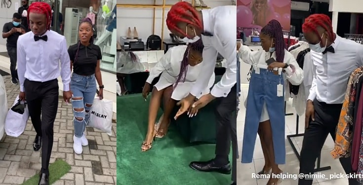 """""""Pick anything you want"""" – Rema says as he takes 'random' female fan on a shopping spree (Video)"""