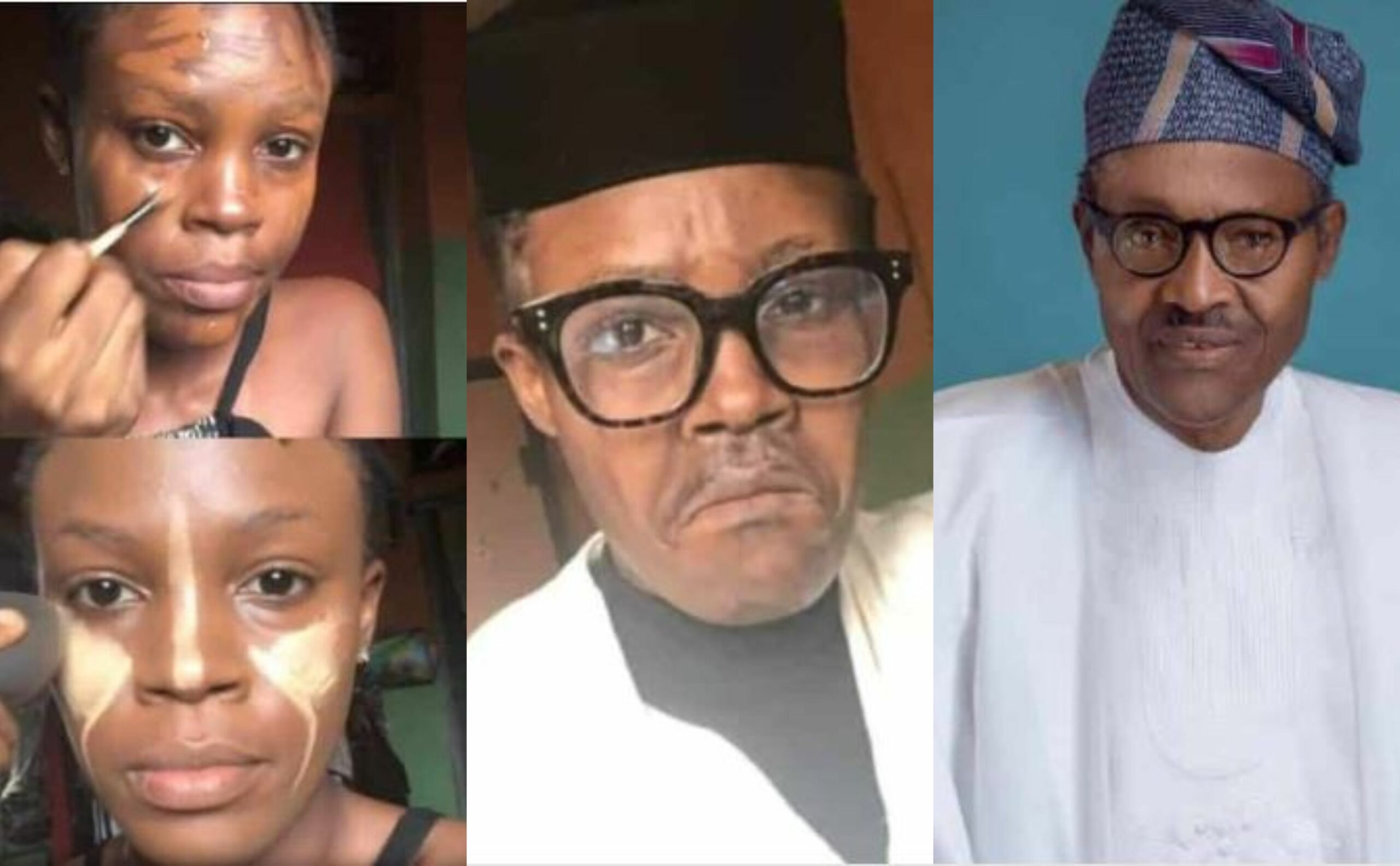 Talented makeup artist paints her face to look like Buhari (Photos)
