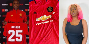 Ighalo sends DJ Cuppy a signed Manchester United Jersey to welcome her to the club (Photo)
