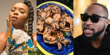 """Why are you eating Davido's legs?"" -Nigerians react as Yemi Alade shares photos of frog meal she had for lunch"