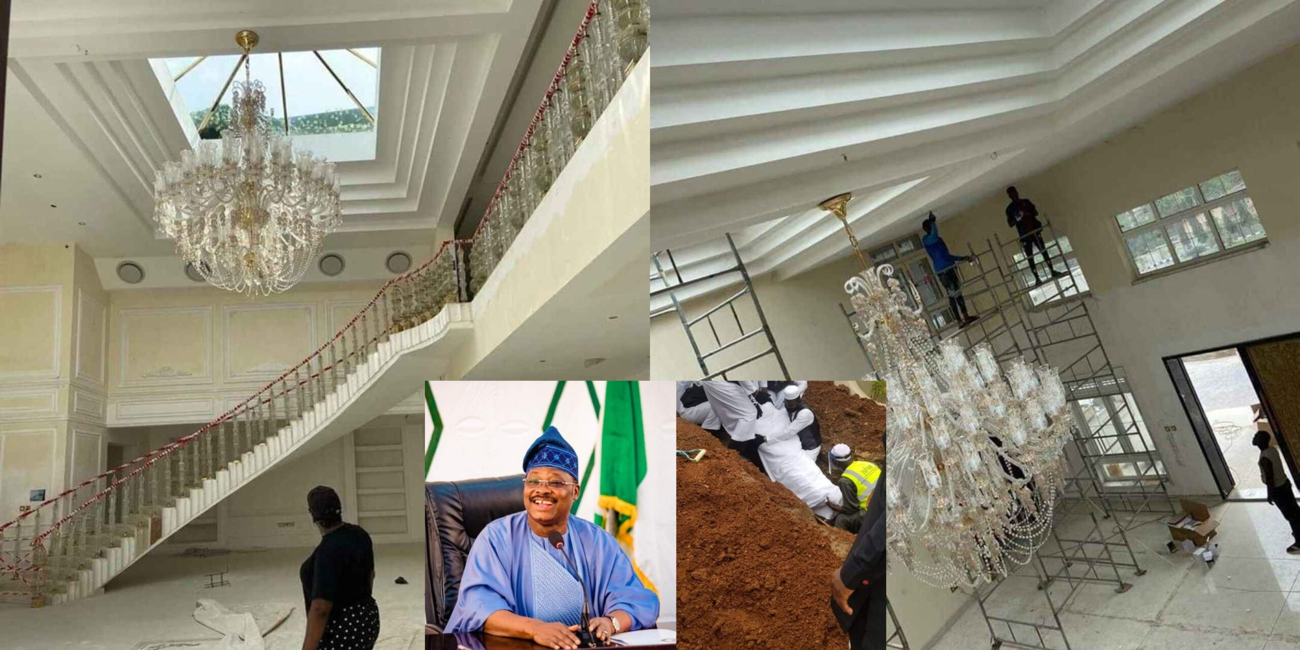 See the Interior of the multi-million Naira mansion late Ajimobi was building before he died