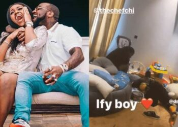 Chioma and Davido spend quality time with Ifeanyi in his playroom (Video)