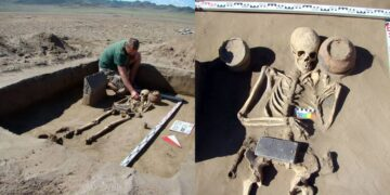 Drama as Archaeologists discover 2,100-year-old skeleton buried with an 'iPhone' (Photos)