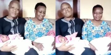 Nigerian couple miraculously welcomes a set of twins three weeks apart after 18 years of marriage (Video)
