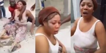 Angry neighbours confront man for beating up his wife till she almost passed out (Video)