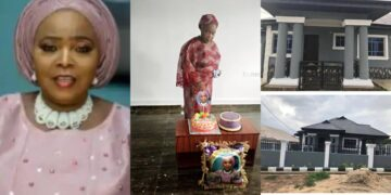 Nigerian mother dances for joy as her children surprise her with a beautiful new house on her birthday (Photos)