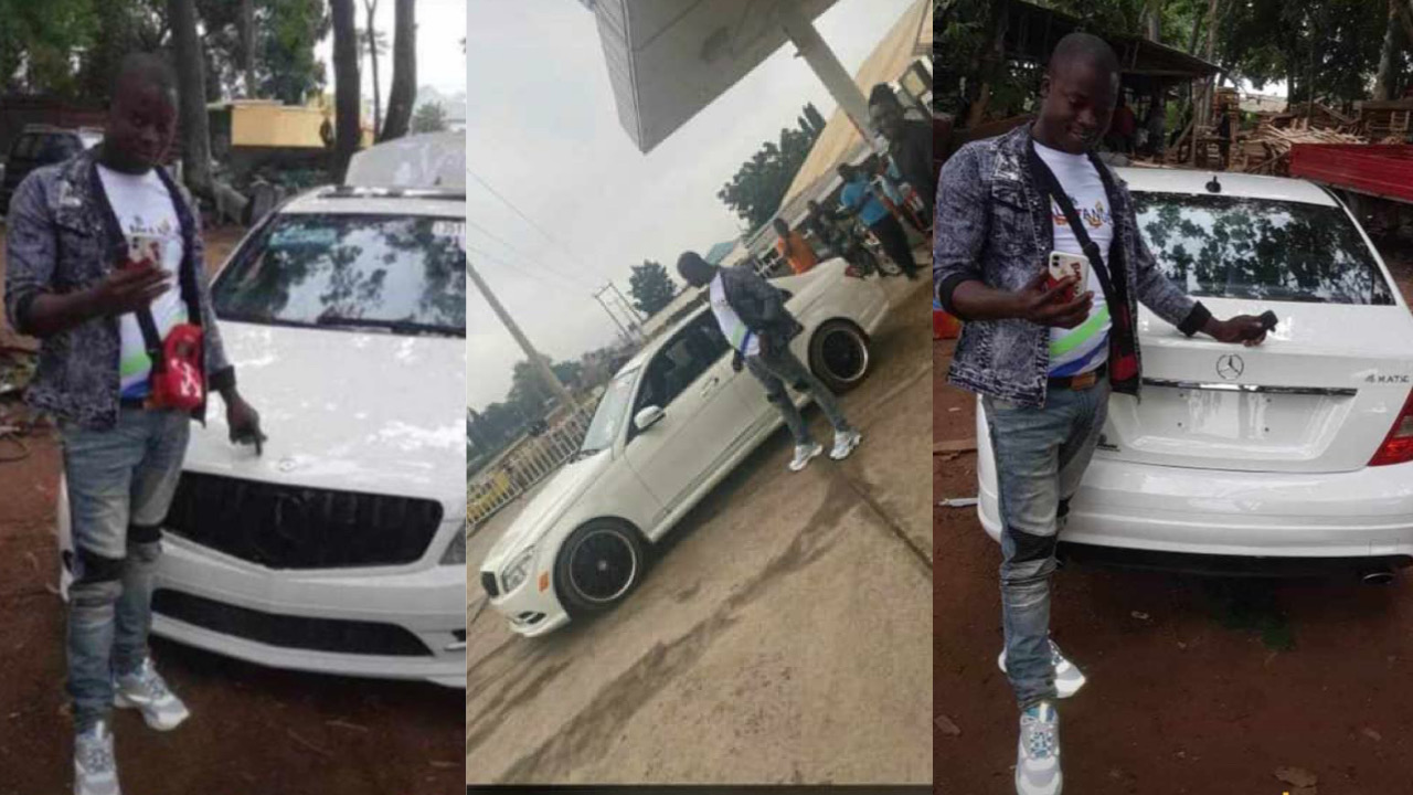 Nigerians react as popular LAUTECH SARS officer, 'Saheed SARS' buys a brand new Mercedes Benz (Photos)