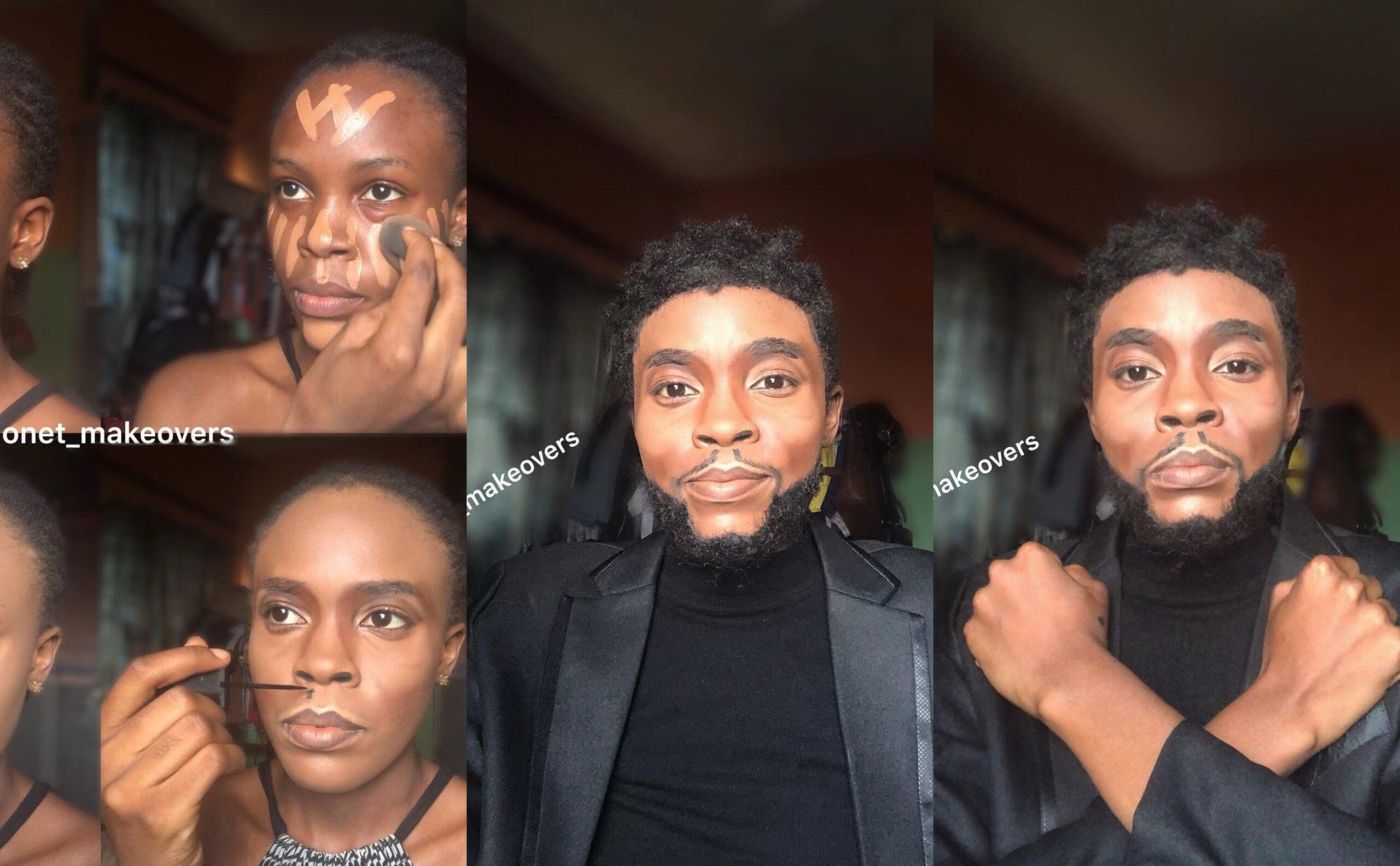 Nigerian make up artist stuns in make-over transformation to late Chadwick Boseman