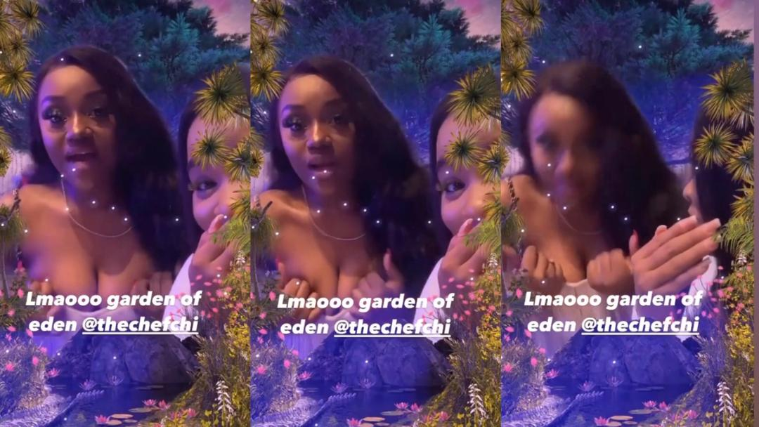 The moment Chioma almost suffered a 'major' wardrobe malfunction during date with Davido and friends (Video)