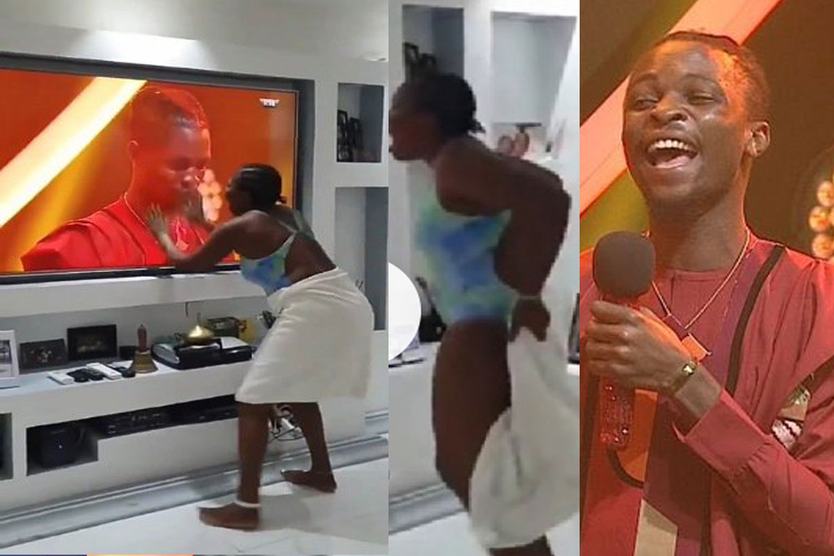Lady Goes Gaga, Removes Her Towel After Laycon Was Declared Winner Of BBNaija 2020 (VIDEO)