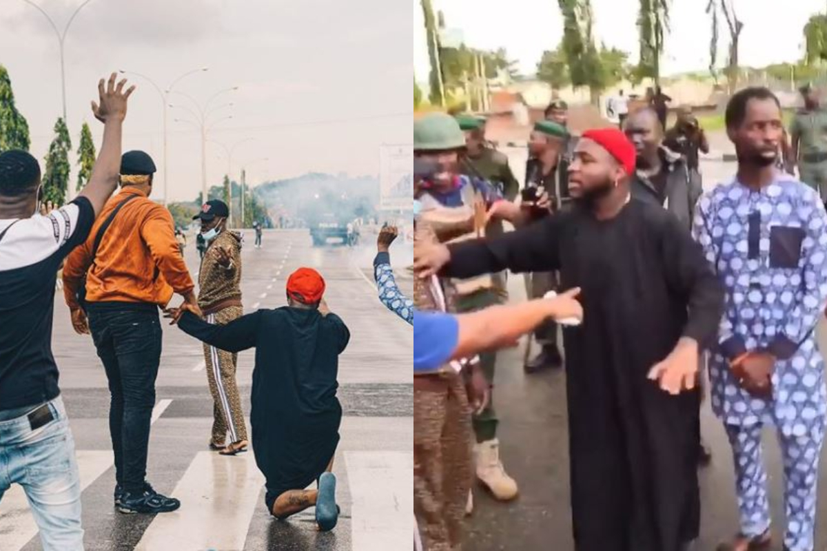Emotional Moment Davido Went On His Knees Infront Of The Police, Asking Them To Stop Killing The Protestors (Video+Photos)